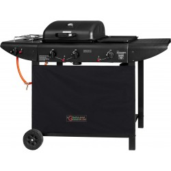 GAS BARBECUE WITH LAVA STONE COOKING STOVE AND A CAST-IRON