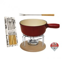 MOHA SET FOR CHEESE FONDUE PCS 9 RED/NATURE HC 26810