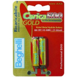 BEGHELLI RECHARGEABLE BATTERY GOLD AAA PCS. 2