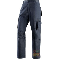 TROUSERS 65% POLYESTER 35% COTTON MULTIPOCKETS BLUE TG S XXXL