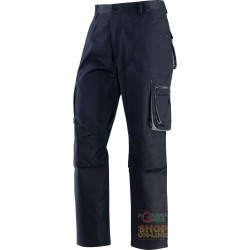 TROUSERS 65% POLYESTER 35% COTTON MULTIPOCKETS BLUE GREY TG S
