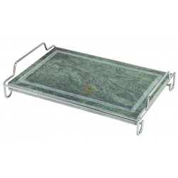 SOAPSTONE RECTANGULAR WITH A STAINLESS STEEL FRAME CM. 20 X 30