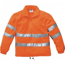 FLEECE HIGH VISIBILITY POLYESTER SHELL WITH A FUNNEL NECKLINE.