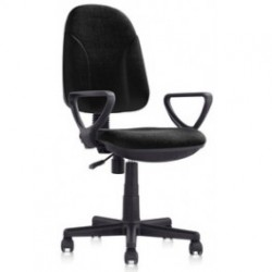 CHAIR, OFFICE SWIVEL GAS WITH ARMRESTS BLACK