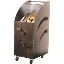FIREWOOD HOLDER IN STEEL WITH CASTORS OPEN AG CM. 32X42X80h