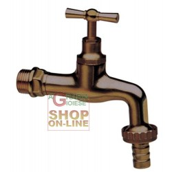 BRASS FAUCET ANTIQUE WITH HOSE FITTING 1/2 INCH.