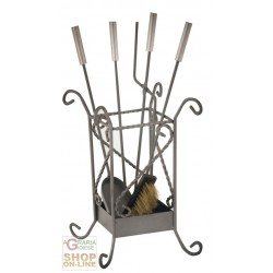 FIREPLACE SET IN WROUGHT IRON GENEVA 4 TOOLS CM. 55 HIGH