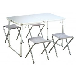 SET CAMPING ALUMINUM TABLE WITH 4 STOOLS CM. 98 X 61 X 60 H.