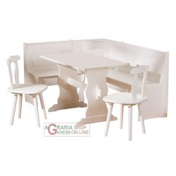 SET CORNER SEATS WITH STORAGE IN SOLID PINE IN WHITE FINISH