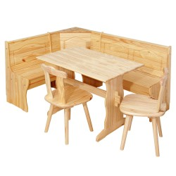 SET CORNER SEATS WITH STORAGE IN SOLID PINE IN A NATURAL FINISH