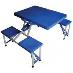 SET TABLE AND CHAIRS picnic CAMPING FOLDABLE 136x66,5xh86 BLUE