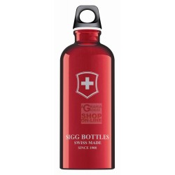 SIGG BOTTLE WATER BOTTLE ALUMINUM RED SWISS EMBLEM YOU SC60.01