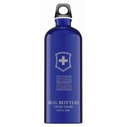 SIGG BOTTLE WATER BOTTLE ALUMINIUM SWISS EMBLEM TOUCH BLEU LT. 1