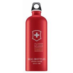 SIGG BOTTLE WATER BOTTLE ALUMINIUM SWISS EMBLEM TOUCH RED LT. 1
