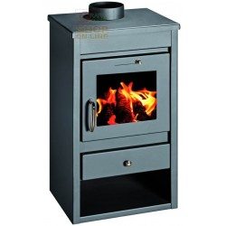 WOOD BURNING STOVE IN THE STAINLESS STEEL MOD. DELUXE-L COLOR