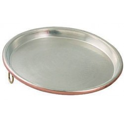 BAKING PAN IN TINNED COPPER ROUND WITH BORDER CM. 3 CM