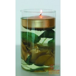 JAR GLASS FLOWER CANDLE RED GOLD