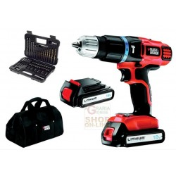 BLACK AND DECKER DRILL WITH 2 BATTERIES LITHIUM 18 V MOD.