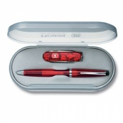 VICTORINOX SET CROSS SOLO TRANSLUCENT RED CON MULTIUSO 0.6223