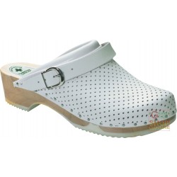SOCKET LEATHER PERFORATED WOODEN SOLES COLOR WHITE TG 35 46