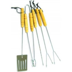 BLINKY SET FOR BBQ 5 PIECE WOOD HANDLE