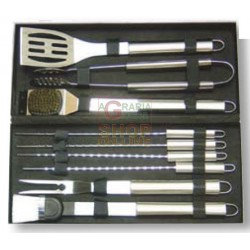 BLINKY SET OF TOOLS FOR BARBECUE WITH CASE 10 PIECES IN