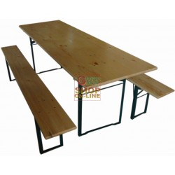 BLINKY TABLE WOOD BEER GARDEN WITH TWO BENCHES 96926-10/9