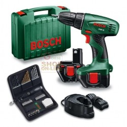 BOSCH DRILL 2 BATTERIES 12V 1.2 AH PSR 12 SET CASE PCS. 46