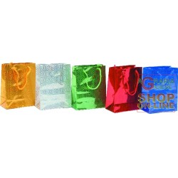 GIFT BAGS CHRISTMAS LASER ASSORTED CM.18X15