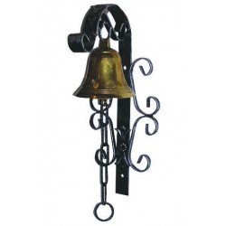 BRASS BELL DIAMETER MM 115 WITH THE SUPPORT WROUGHT IRON