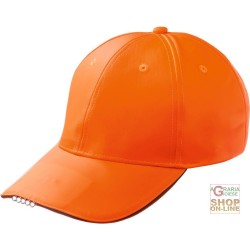 CAP IN POLYESTER C VISOR WITH LED LIGHTS ORANGE COLOR