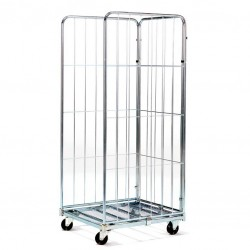 CART WITH 3 SIDES GALVANIZED ROLL CONTAINER CM. 80x71x180h NEW