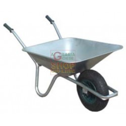 WHEELBARROW WITH TUB, GALVANISED WITH PNEUMATIC WHEEL LT. 85
