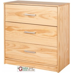 Chest of DRAWERS WITH 3 DRAWERS IN SOLID PINE COLOUR: WOOD cm.