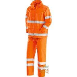 FULL JACKET AND PANT IN POLYESTER PVC WITH REFLECTIVE BANDS