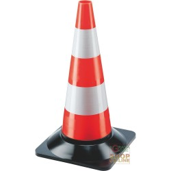 THE CONE OF TRAFFIC, H 50 CM PLASTIC BASE BLACK WHITE COLOR RED