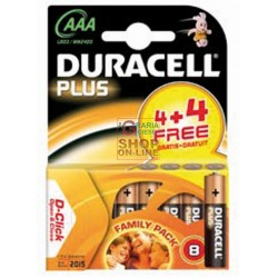 DURACELL BATTERIES AAA PLUS DURALOCK PCS. 4+4, MN 2400 PLUS