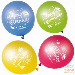 FACKELMANN 8 BALLOONS HAPPY BIRTHDAY ASSORTED COLOURS ART. 50133