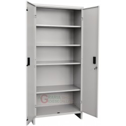 Closet are all metal with shelves, two doors Prometal-cm.