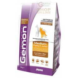 GEMON MANGIME PER CANI MEDIUM PUPPY JUNIOR CON POLLO E RISO KG.