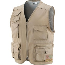 VEST COTTON POLYESTER MULTIPOCKETS BEIGE TG M-L-XL-XXL