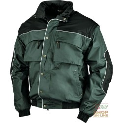 JACKET IN POLYESTER WITH PVC INNER FLEECE GREEN OIL BLACK TG M
