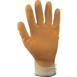 GLOVE COTTON POLYESTER PALM COATED RUBBER COLOR ORANGE ECONOMIC