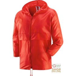 K-WAY WITH ZIP COLOR RED TG M-L-XL-XXL