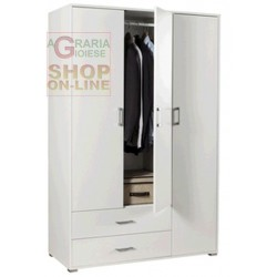 KIT 3 DOOR WARDROBE WITH 2 DRAWERS CM.120X51X183H WHITE