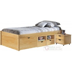 BED WITH EMPTY CONTAINER, AND A BEDSIDE TABLE WITH CASTORS