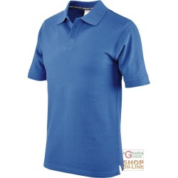 POLO SHIRT 100% CARDED COTTON COLOR ROYAL BLUE TG S XXL