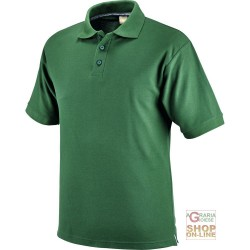 POLO SHIRT 100% CARDED COTTON COLOR GREEN TG S XXL