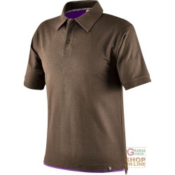 POLO SHIRT 100% CARDED COTTON GR 190 COLOR TAUPE PURPLE TG S XXL